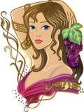 Meisje met een bos van druiven Stock Fotografie