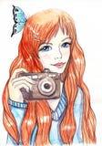 Meisje met een camera Stock Afbeeldingen