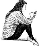 Meisje met een celtelefoon Stock Fotografie