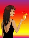 Meisje met een cocktail vector illustratie