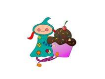 Meisje met een cupcake Stock Foto