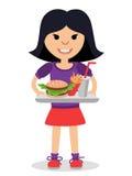 Meisje met een dienblad van snel voedsel in zijn handen vector illustratie