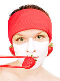 Meisje met een fasemasker stock fotografie