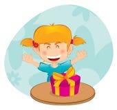 Meisje met een gift royalty-vrije illustratie