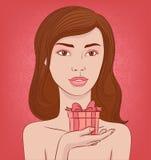 Meisje met een gift stock illustratie