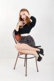Meisje met een glas wijn Royalty-vrije Stock Afbeelding