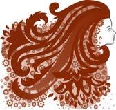 Meisje met een haarbloem Stock Foto's