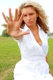 Meisje met een hand Stock Afbeelding