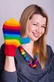 Meisje met een handschoen royalty-vrije stock foto's