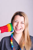 Meisje met een handschoen royalty-vrije stock foto