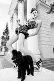 Meisje met een hond Stock Foto's