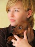 Meisje met een hond Royalty-vrije Stock Fotografie