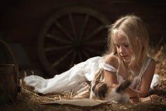 Meisje met een katje op hooi Stock Afbeeldingen
