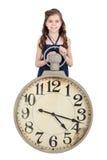 Meisje met een klok Stock Afbeelding