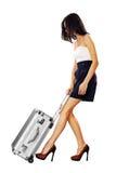 Meisje met een koffer stock afbeeldingen