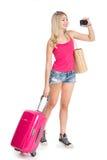 Meisje met een koffer royalty-vrije stock fotografie