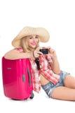 Meisje met een koffer stock fotografie