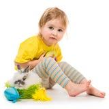 Meisje met een konijn royalty-vrije stock foto