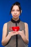 Meisje met een kop Royalty-vrije Stock Foto