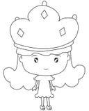 Meisje met een kroon kleurende pagina Stock Foto