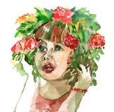 Meisje met een kroon op haar hoofd royalty-vrije illustratie