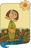 Meisje met een kruik Stock Foto