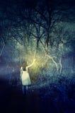 Meisje met een lamp Royalty-vrije Stock Foto