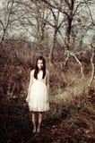 Meisje met een lamp Stock Fotografie
