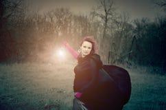 Meisje met een lamp Royalty-vrije Stock Afbeeldingen