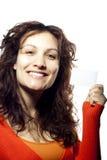 Meisje met een Leeg Kaartje royalty-vrije stock afbeeldingen