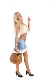 Meisje met een mand Stock Afbeelding