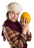 Meisje met een meloen stock afbeeldingen