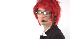 Meisje met een microfoon stock footage