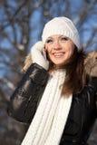 Meisje met een mobiele telefoon Royalty-vrije Stock Foto