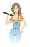 Meisje met een moersleutel Stock Fotografie
