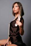 Meisje met een musket royalty-vrije stock fotografie