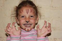 Meisje met een patroon op het gezicht Royalty-vrije Stock Fotografie
