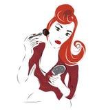 Meisje met een Poederborstel Stock Afbeelding