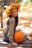 Meisje met een Pompoen Royalty-vrije Stock Afbeelding