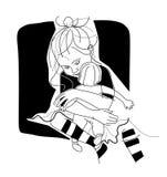 Meisje met een pop Stock Afbeelding