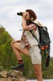 Meisje met een rugzak Stock Foto
