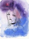 Meisje met een sigaret op waterverfachtergrond Stock Afbeelding