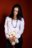 Meisje met een speelgoed-muis Royalty-vrije Stock Foto