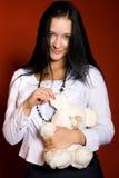 Meisje met een speelgoed-muis Stock Fotografie