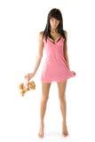 Meisje met een stuk speelgoed Royalty-vrije Stock Fotografie