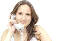 Meisje met een telefoon Stock Fotografie