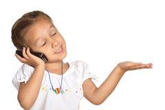 Meisje met een telefoon Royalty-vrije Stock Afbeeldingen