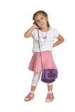 Meisje met een telefoon Royalty-vrije Stock Afbeelding