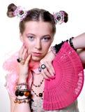 Meisje met een ventilator Royalty-vrije Stock Foto's