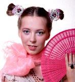 Meisje met een ventilator Royalty-vrije Stock Foto